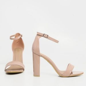 NWOT PrettyLittleThing Nude Patent Block Heels